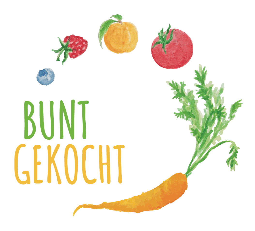 Logo Bunt Gekocht: Schriftzug und Zeichnung von mehreren Gemüse- und Obststücken