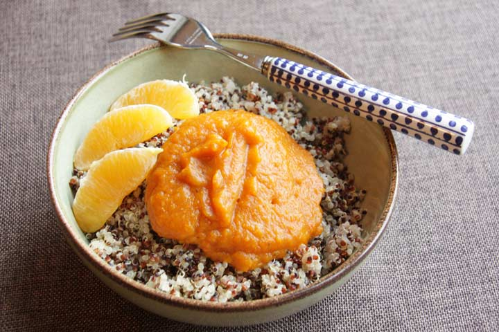 Kürbismus auf Quinoa zum Frühstück