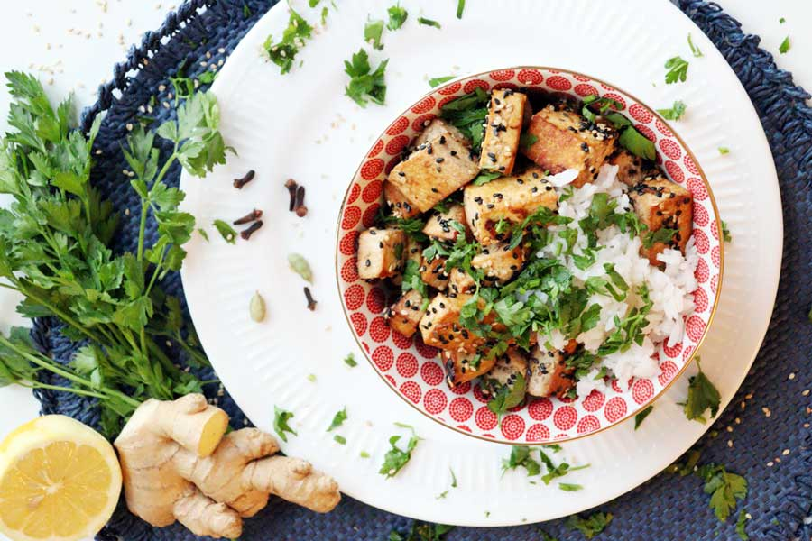 Tofu mariniert und gebraten